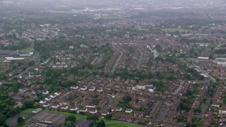 AX113_122 - 6K stock footage aerial video of residential neighborhoods in Belfast, Northern Ireland