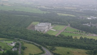 AX113_123 - 6K stock footage aerial video of Parliament Buildings in Belfast, Northern Ireland
