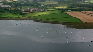 AX113_150 - 6K stock footage aerial video of sailboats in the harbor and farmland along the shore, Strangford Lough, Northern Ireland