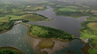AX113_157 - 6K stock footage aerial video of Quoile Yacht Club in Strangford Lough, Downpatrick, Northern Ireland