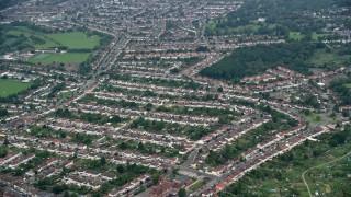 AX114_013 - 6K stock footage aerial video of residential neighborhoods in Thornton Heath, England