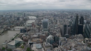AX114_035 - 6K stock footage aerial video approach 20 Fenchurch Street skyscraper near River Thames in Central London, England