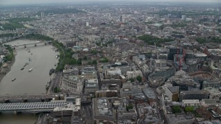 AX114_040 - 6K stock footage aerial video of office buildings near River Thames, Central London, England