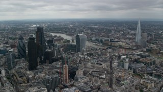 AX114_046 - 6K stock footage aerial video approach 20 Fenchurch and River Thames, Central London, England