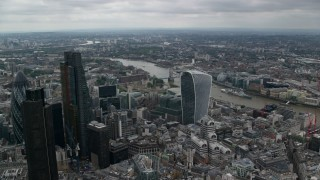 AX114_047 - 6K stock footage aerial video approach 20 Fenchurch Street and Tower Bridge over River Thames, Central London, England