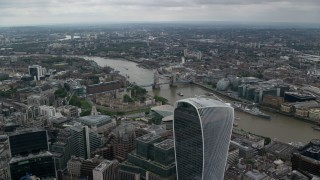 AX114_048 - 6K stock footage aerial video fly over 20 Fenchurch Street toward Tower Bridge and River Thames, London, England
