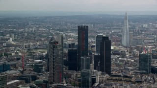 AX114_067 - 6K stock footage aerial video of skyscrapers and The Shard, Central London, England