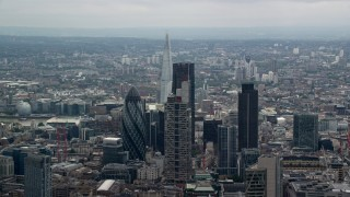 AX114_069 - 6K stock footage aerial video flyby skyscrapers revealing The Shard, Central London, England