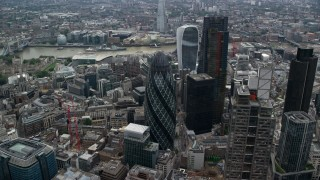 AX114_073 - 6K stock footage aerial video of an approach to The Gherkin skyscraper, Central London, England