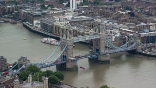 AX114_085 - 6K stock footage aerial video of an orbit of the Tower Bridge, London, England