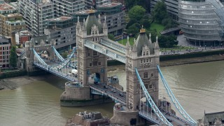 AX114_090 - 6K stock footage aerial video of the famous Tower Bridge, London, England