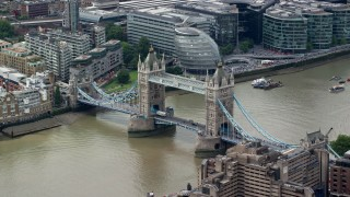 AX114_091 - 6K stock footage aerial video of an orbit around historic Tower Bridge on River Thames, London, England
