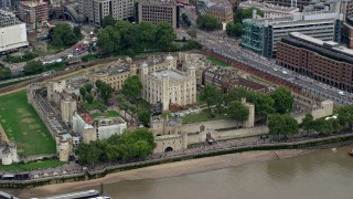 AX114_099 - 6K stock footage aerial video of the historic Tower of London, England