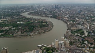AX114_153 - 6K stock footage aerial video of River Thames winding through London, England