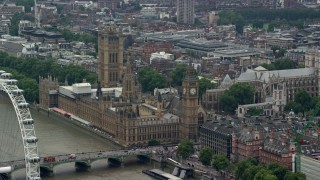 AX114_166 - 6K stock footage aerial video of Big Ben and Parliament by the River Thames, London, England