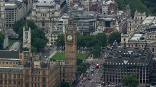 AX114_181 - 6K stock footage aerial video of the famous Big Ben clock tower, London, England