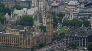 AX114_182 - 6K aerial stock footage video of a view of famous Big Ben, London, England