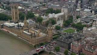 AX114_187 - 6K stock footage aerial video of an approach to Big Ben and Parliament in London, England