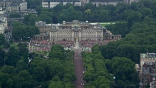 AX114_203 - 6K stock footage aerial video of orbiting Buckingham Palace and Victoria Memorial in London, England