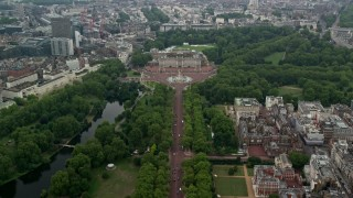AX114_206 - 6K stock footage aerial video fly over The Mall toward Buckingham Palace, London, England