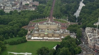 AX114_215 - 6K stock footage aerial video of orbiting the back of Buckingham Palace, London, England