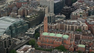 AX114_217 - 6K stock footage aerial video of orbiting Westminster Cathedral, London, England