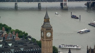 AX114_223 - 6K stock footage aerial video of Big Ben overlooking the River Thames, London, England