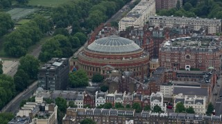 AX114_258 - 6K stock footage aerial video of orbiting Royal Albert Hall, London, England
