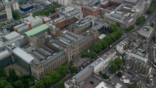 AX114_260 - 6K stock footage aerial video of orbiting Natural History Museum, London, England