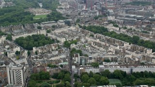 AX114_263 - 6K stock footage aerial video of apartment buildings and embassies around Belgrave Square, London, England