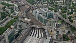 AX114_267 - 6K stock footage aerial video of London Paddington Station and office buildings, England