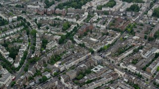 AX114_269 - 6K stock footage aerial video of orbiting residential neighborhoods, London, England