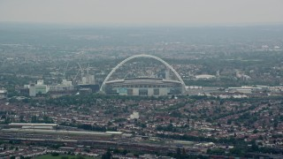 AX114_275 - 6K stock footage aerial video of Wembley Stadium, London, England