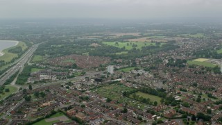 AX114_298 - 6K stock footage aerial video of residential neighborhoods, Slough, England