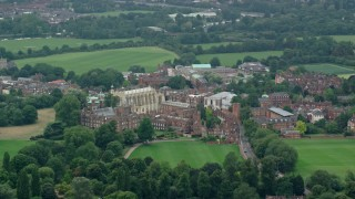 AX114_305 - 6K stock footage aerial video of orbiting Eton College, England