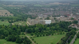 AX114_306 - 6K stock footage aerial video flyby Windsor Castle, England