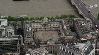 AX115_097 - 6K stock footage aerial video of an orbit of Somerset House along River Thames, London England