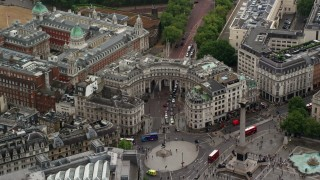 AX115_098 - 6K stock footage aerial video of approaching The Admiralty Arch at Trafalgar Square, London England