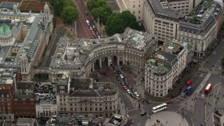 AX115_099 - 6K stock footage aerial video of The Admiralty Arch at Trafalgar Square, London England