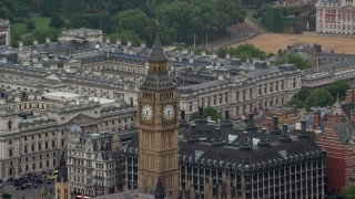AX115_106 - 6K stock footage aerial video of orbiting Big Ben, London, England