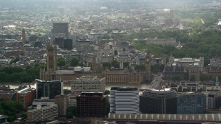 AX115_109 - 6K stock footage aerial video of a view of Big Ben and Parliament, London, England