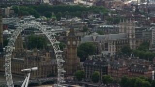 AX115_114 - 6K stock footage aerial video of Big Ben seen from the London Eye, England