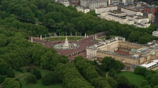 AX115_132 - 6K stock footage aerial video of Victoria Memorial at Buckingham Palace, London, England
