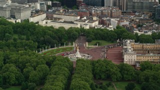 AX115_133 - 6K stock footage aerial video of circling the Victoria Memorial at Buckingham Palace, London, England