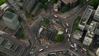 AX115_152 - 6K stock footage aerial video of a bird's eye of Elephant and Castle Roundabout, London, England