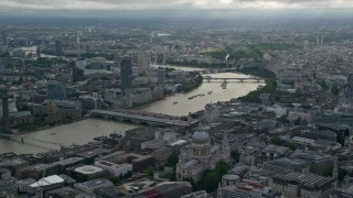 AX115_192 - 6K stock footage aerial video approach St Paul's Cathedral near the Thames, London, England
