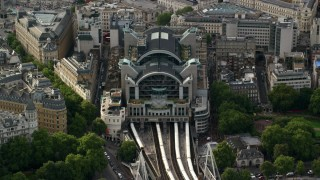 AX115_204 - 6K stock footage aerial video of an orbit of Charing Cross Railway Station, London, England