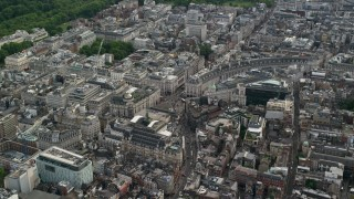 AX115_209 - 6K stock footage aerial video of orbiting Piccadilly Circus, London, England