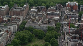 AX115_220 - 6K stock footage aerial video of United States Embassy, London, England