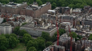 AX115_221 - 6K aerial stock footage video of an orbit of the United States Embassy, London, England